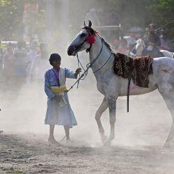 Un guerrero Sikh Nihang se prepara para actuar con un caballo mientras muestra sus habilidades con motivo del festival 'Hola Mohalla' que tiene lugar al día siguiente de Holi, el festival de los colores en un terreno a lo largo de una carretera bloqueada donde los agricultores son continuando su protesta contra las recientes reformas agrícolas del gobierno central en la frontera del estado de Delhi-Haryana en Singhu. | Foto:Sajjad Hussain / AFP