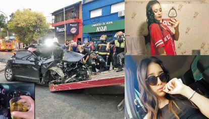 Operativo. Los bomberos cortaron la carrocería del auto para rescatar a los heridos. Las víctimas. Denis y Agustina perdieron la vida tras el siniestro.