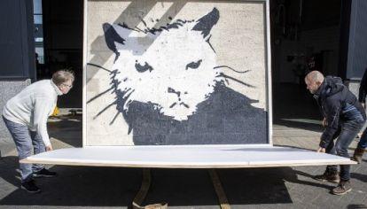 """""""Whitehouse Rat"""", un mural de inusual tamaño de Banksy viajará de Inglaterra a Holanda para un remate. Su precio base: 400 mil euros."""