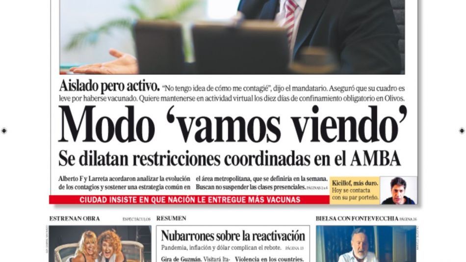 La tapa de Diario PERFIL domingo 4 de abril de 2021