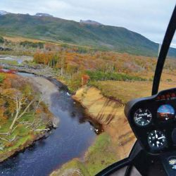 Vista de los bosques desde el helicóptero.