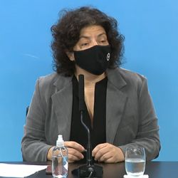 Carla Vizzotti en conferencia de prensa.