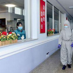 Esta imagen muestra a los empleados de la Fábrica de Agua Mineral Daesongsan en Pyongyang desinfectando las instalaciones como medida de cuarentena contra la nueva infección por coronavirus. | Foto:KCNA VIA KNS / AFP