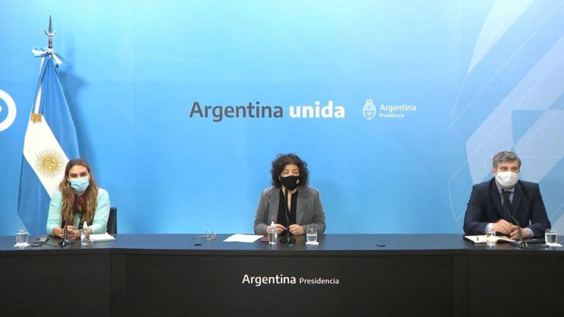 Health Minister Carla Vizzotti leads a Covid-19 press conference.