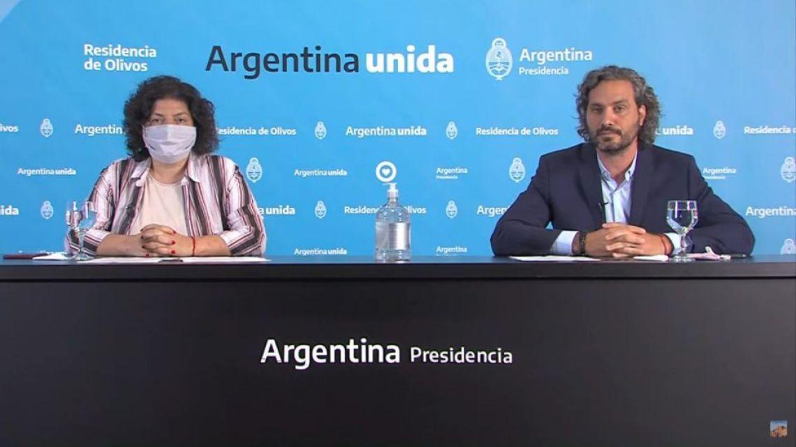 Health Minister Carla Vizzotti and Cabinet Chief Santiago Cafiero.