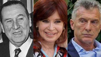 Juan Perón, Cristina Fernández y Mauricio Macri