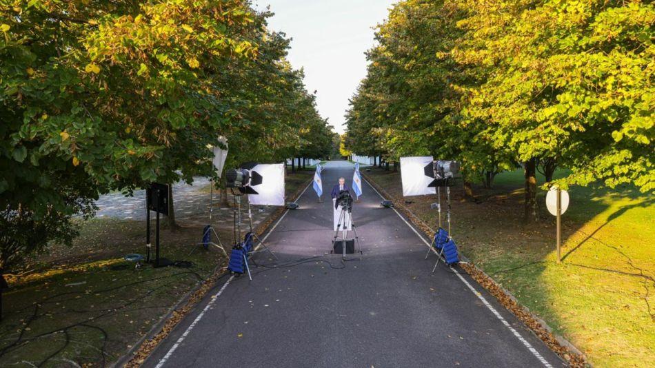 Alberto Fernández grabó el mensaje en la Quinta de Olivos