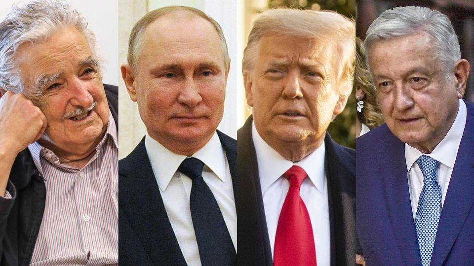 Pepe Mujica, Vladinir Putin, Donald Trump y Manuel López Obrador 20210407
