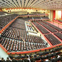 Esta imagen tomada y publicada por la Agencia Central de Noticias de Corea del Norte muestra la Sexta Conferencia de Secretarios de Células del Partido de los Trabajadores de Corea en Pyongyang. | Foto:STR / AFP