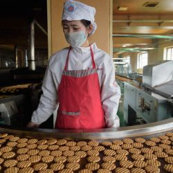 Un trabajador se para frente a una máquina en una línea de producción de pasteles de la marca  | Foto:STR / AFP