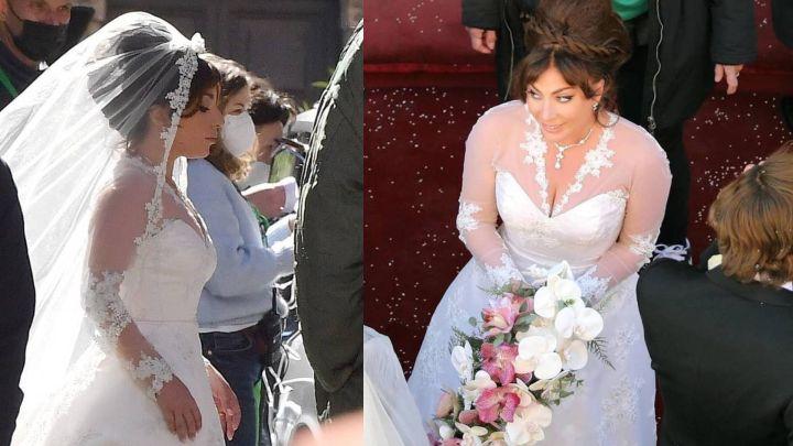 """Lady Gaga cautiva con su vestido de novia en las grabaciones de """"House of Gucci"""""""