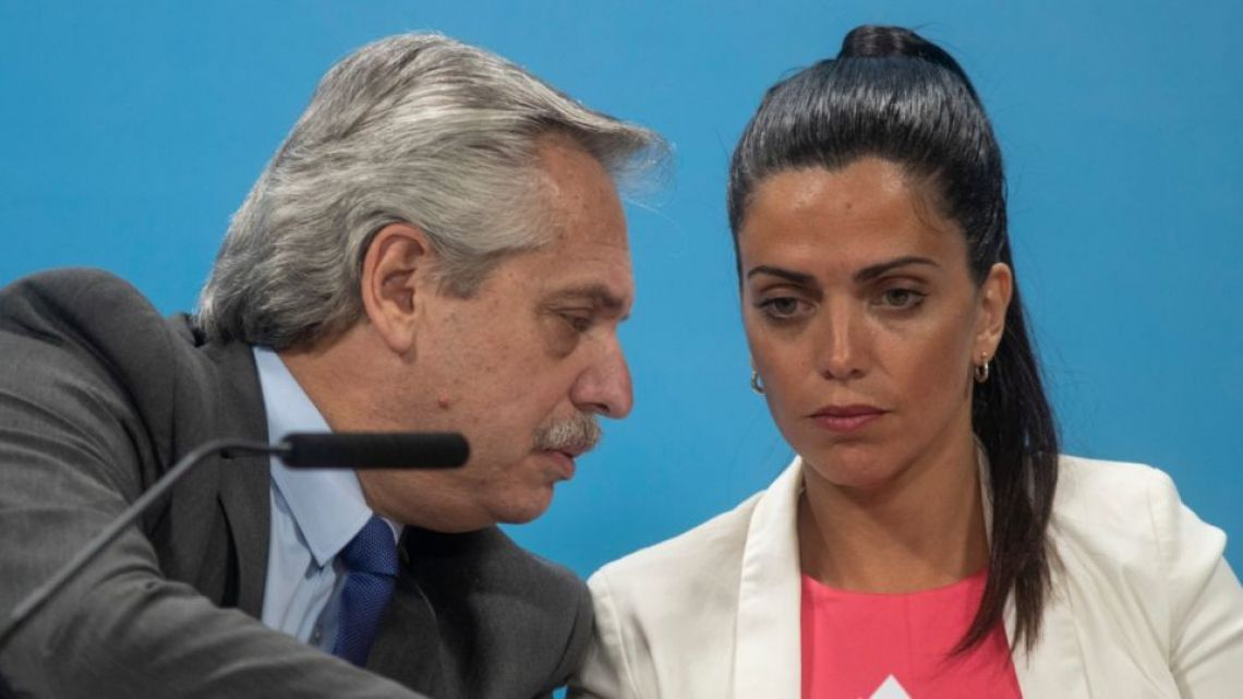President Alberto Fernández (left) and PAMI chief Luana Volnovich.
