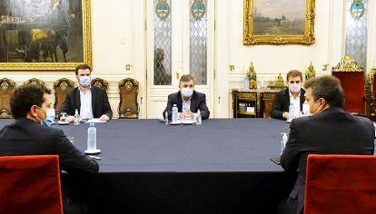Encuentro. Esta semana, De Pedro y Massa junto a los jefes de bloque de la oposición: López (CC), Negri (UCR) y Ritondo (PRO).