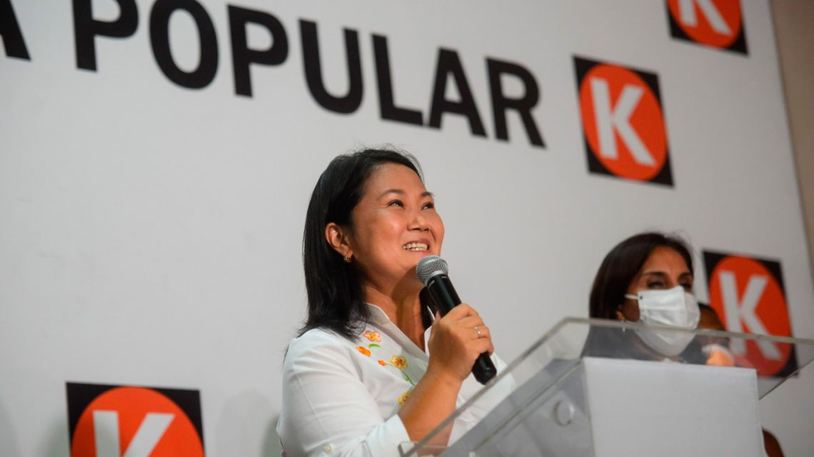 Keiko Fujimori, presidential candidate of the Popular Force party, speaks during an election night rally at the party's headquarters in Lima, Peru, on Sunday, April 11, 2021.