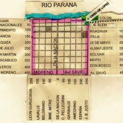 Las 9 manzanas cuadradas fundacionales fueron diagramadas en el sector comprendido por las actuales calles Juan B. Justo, Colón-Aguiar, León Guruciaga; y Avenidas Moreno-Savio.