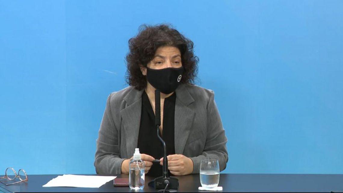 Argentine Health Minister Carla Vizzotti at a press conference on 14 April, 2021.