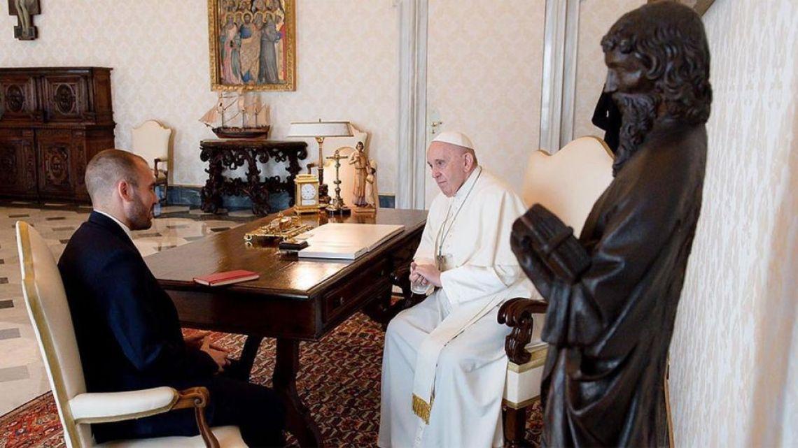 Pope Francis receives Economy Minister Martín Guzmán.