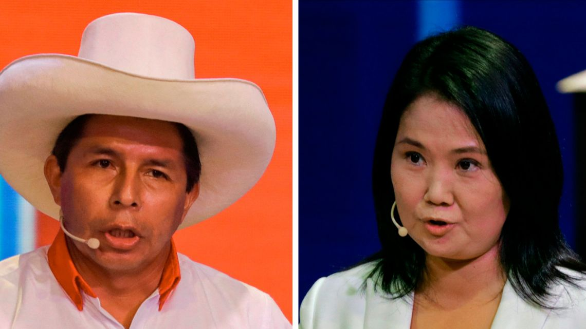 Presidential candidate for the Free Peru Party, Pedro Castillo (left), and fellow candidate for the Popular Force Party, Keiko Fujimori, speaking during the televised debate organised by the National Electoral Jury in Lima.