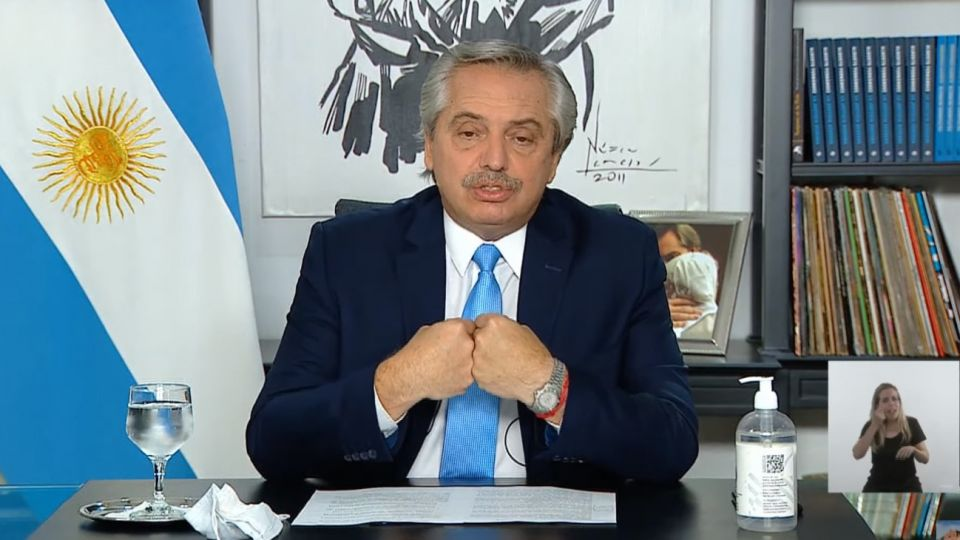 El presidente Alberto Fernández anunció nuevas restricciones. | Captura