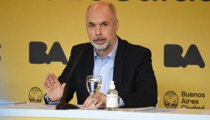 Conferencia de prensa Horacio Rodríguez Larreta por nuevas restricciones de la segunda ola Covid-19