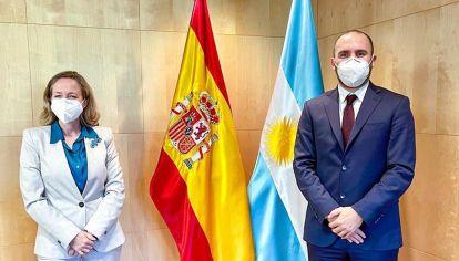 Martín Guzman con Nadia Calviño Vicepresidenta de Asuntos Económicos y Transformación Digital