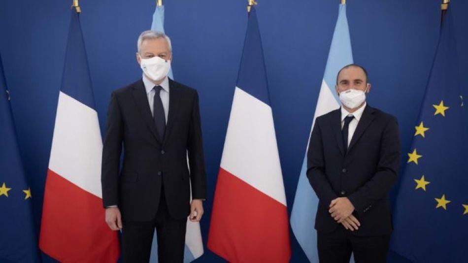 El ministro de Finanzas francés, Bruno Le Maire, y el ministro de Economía argentino, Martín Guzmán.