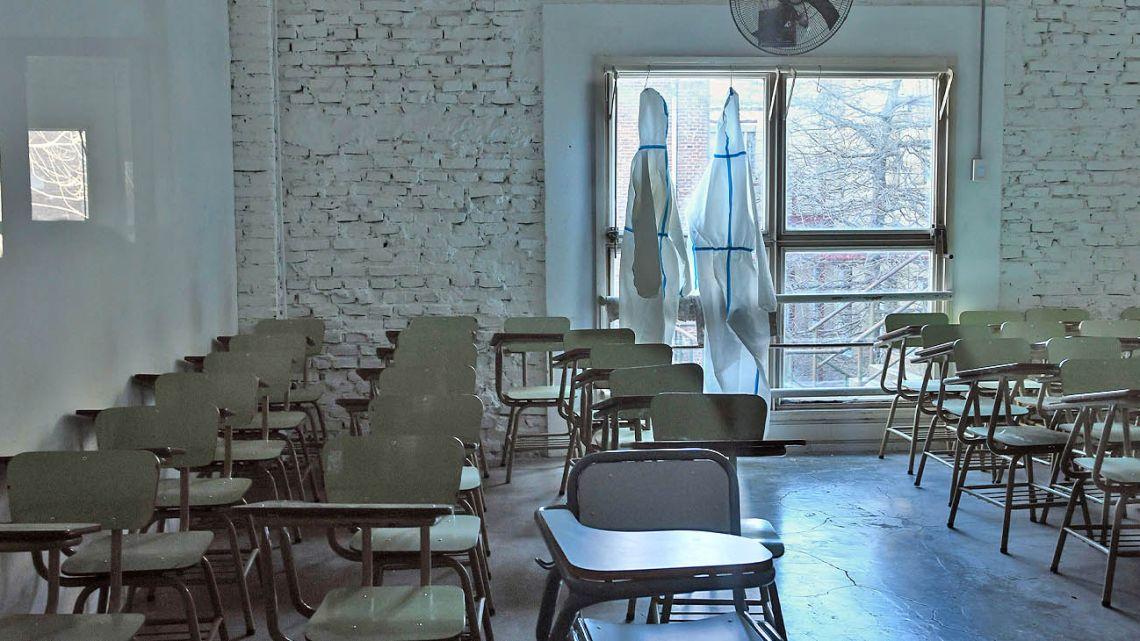 An empty school-room.