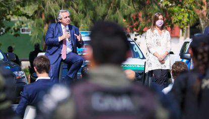 Centinela. Fernández anunció ayer con Frederic el envío de mil gendarmes para el Conurbano.
