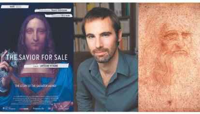 Salvator mundi & co. A izquierda, el afiche del film The Savior for Sale, de Antoine Vitkine (medio). A derecha, autorretrato de Leonardo da Vinci (der.).