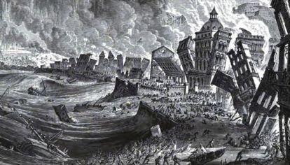 Una de la recreaciones del trágico sismo y tsunami en Portugal en 1775.