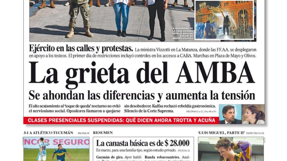 La tapa del Diario PERFIL del domingo 18 de abril de 2021.