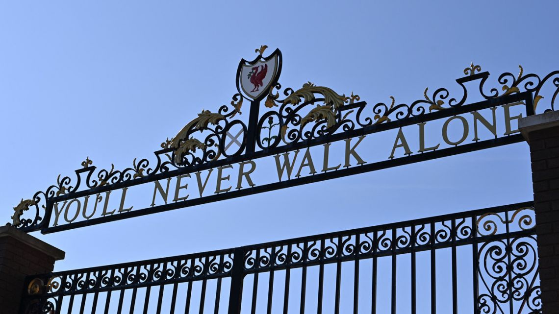 The Shankly Gates at Anfield stadium, home of English Premier League football club Liverpool, on April 19, 2021.