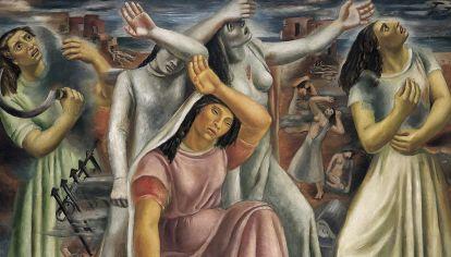 Fragmento de Mujeres del mundo, óleo sobre tela de Raquel Forner (1938)