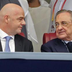 Florentino Pérez, impulsor de la Superliga y el presidente de FIFA Gianni Infantino