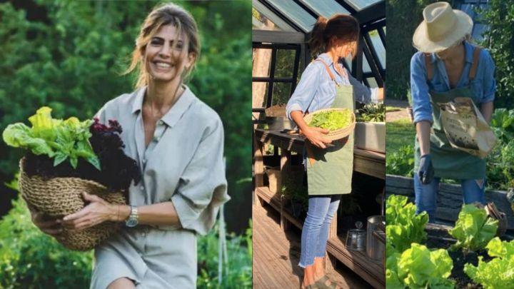 Juliana Awada y el look casual para hacer jardinería en casa