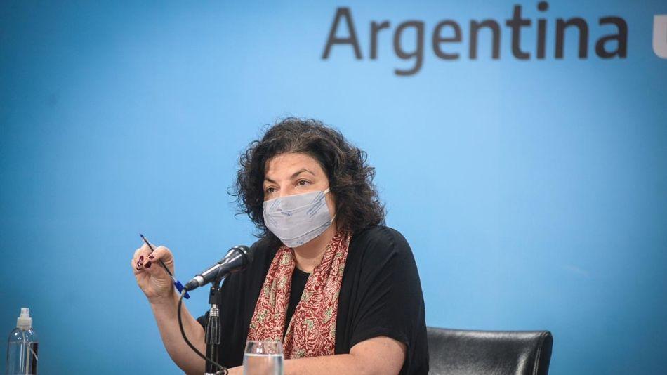 La ministra de Salud, Carla Vizzotti, en conferencia de prensa