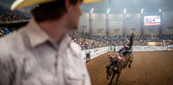Ty Bertrand mira a un jinete a caballo en el San Angelo Stock Show and Rodeo, en San Angelo, Texas. - La primera noche del rodeo vio a una multitud agotada, el primer evento de rodeo que se llevó a cabo sin restricciones en San Angelo desde el comienzo de la pandemia.