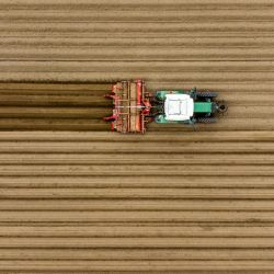 Bavaria, Aufhausen: una vista aérea muestra un tractor trabajando en un campo de patatas. | Foto:Armin Weigel / DPA