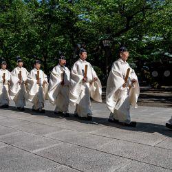 Los sacerdotes caminan durante los ritos anuales de primavera en el Santuario Yasukuni en Tokio. | Foto:Philip Fong / AFP