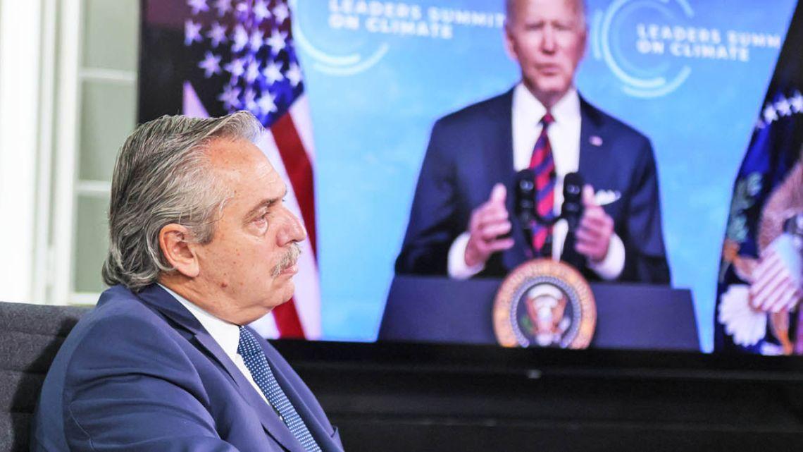 President Alberto Fernández attends Joe Biden's Earth Day summit.
