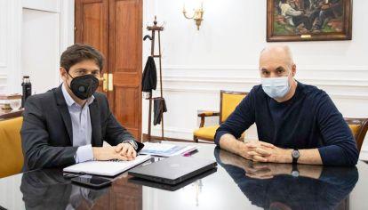 Dúo. El gobernador bonaerense y el jefe de Gobierno porteño podrían dejar los dardos políticos para volver a avanzar con nuevas cierres a partir del 30 de abril.