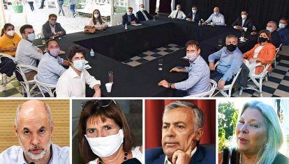 Cumbre. Larreta, Bullrich, Cornejo y Carrió están entre los principales dirigentes de Juntos por el Cambio que se preparan para un escenario de más tensión con el Frente de Todos.
