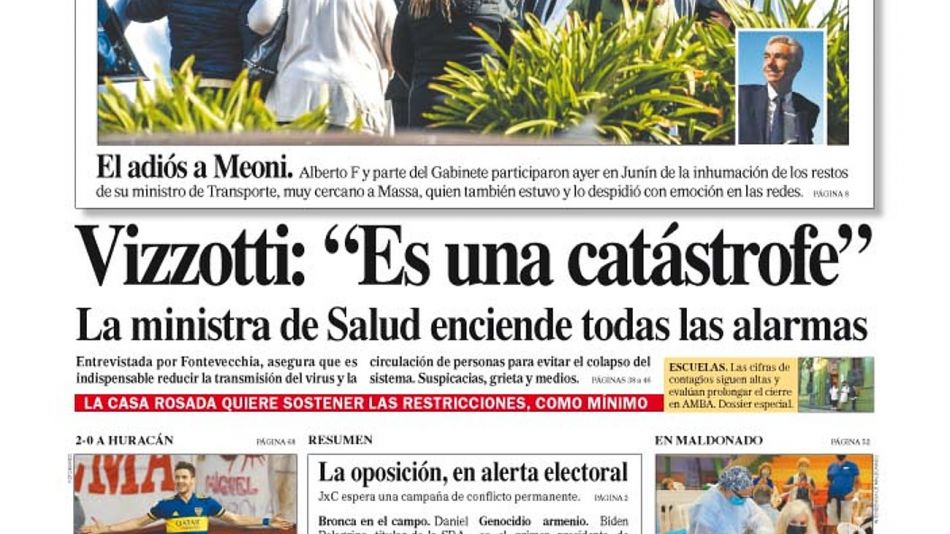 La tapa del Diario PERFIL del domingo 25 de abril de 2021.