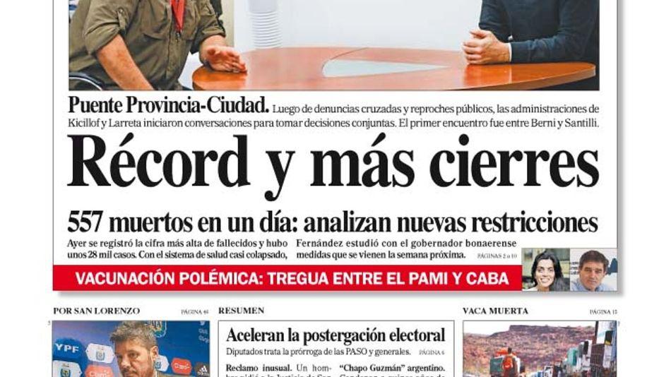 La tapa del Diario PERFIL del sábado 24 de abril de 2021.