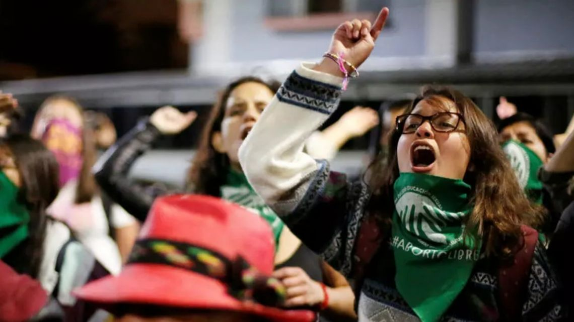 Protesters demonstrate in favour of abortion in Quito, Ecuador.