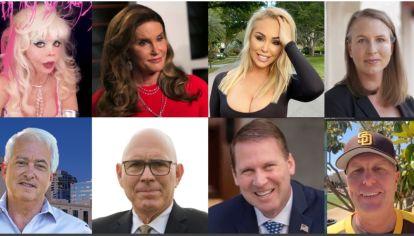 Aspirantes a gobernar California. (Arr.)Angelyne, Caitlyn Jenner, Mary Carey, Jenny Le Roux. (Ab.) John Cox, Sam Galucci, Grover Coltharp y Kevin Faulconer.