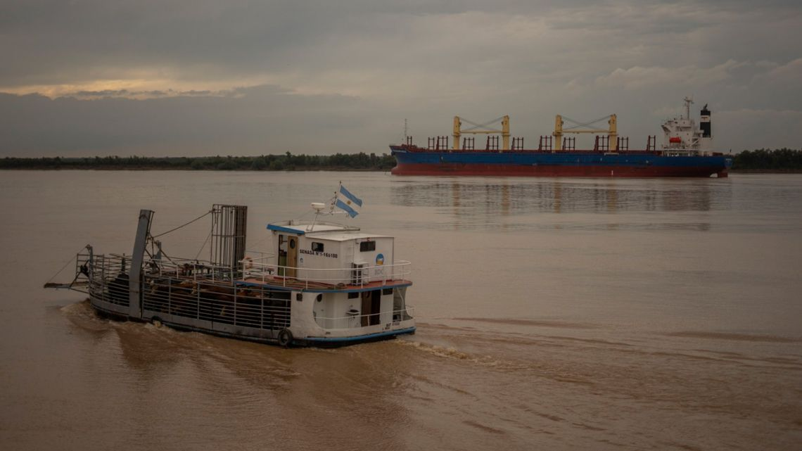 A SENASA cargo ship transports cattle while travelling through the Paraná River near the Port of Rosario in Rosario, Argentina, on April 23.