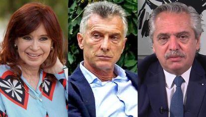 Cristina Fernández, Mauricio Macri, y Alberto Fernández