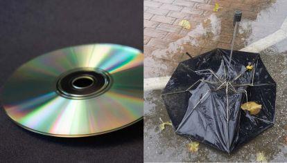 reciclado de CD y paraguas