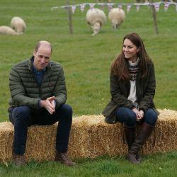 El príncipe Guillermo de Gran Bretaña, duque de Cambridge, y Catherine, duquesa de Cambridge de Gran Bretaña, reaccionan durante una visita a Manor Farm en Little Stainton, cerca de Durham, al noreste de Inglaterra. | Foto:Owen Humphreys / POOL / AFP